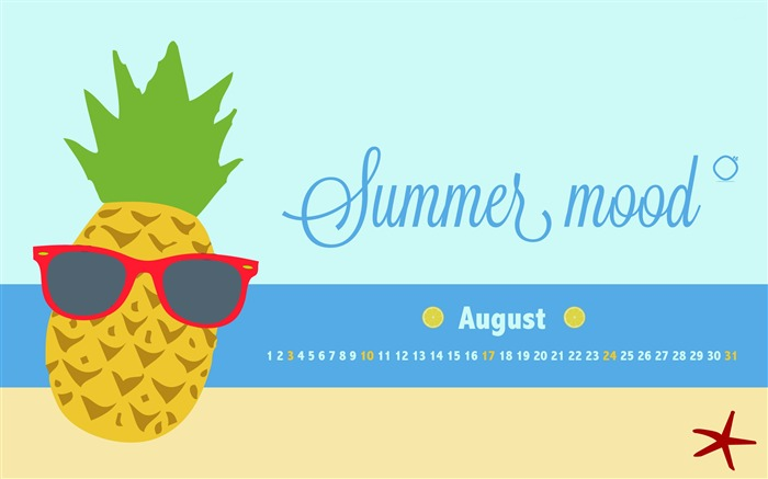 Summer Mood-August 2014 calendar wallpaper Views:1420