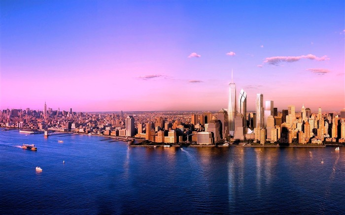 New York Sunset Skyline-City HD Wallpaper Views:2559