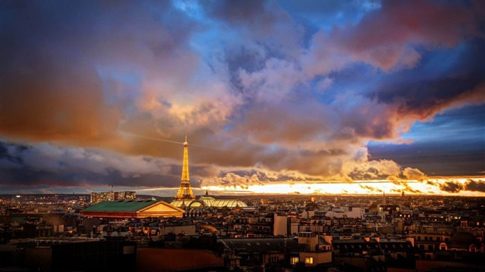 Paris Sunset Skyline-City HD Wallpaper Views:2399