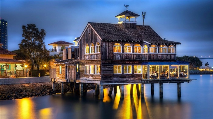 restaurant by the sea-City HD Wallpaper Views:3273