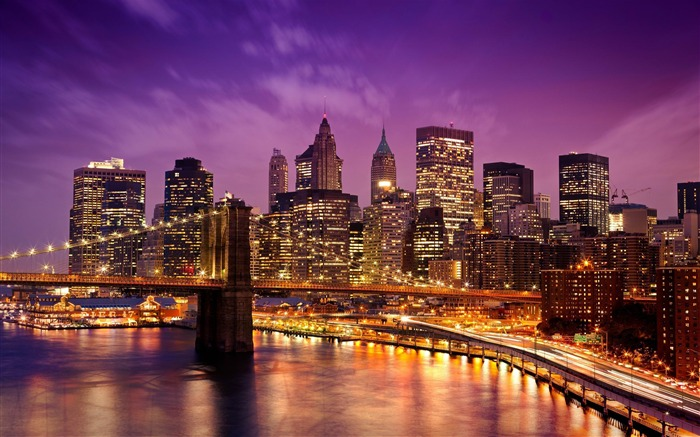 Brooklyn Bridge At Night-HD Widescreen Wallpaper Views:3704