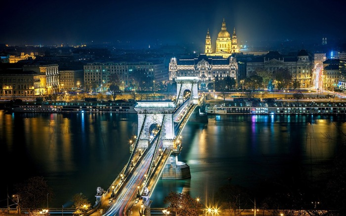 Budapest Hungary At Night-HD Widescreen Wallpaper Views:3325