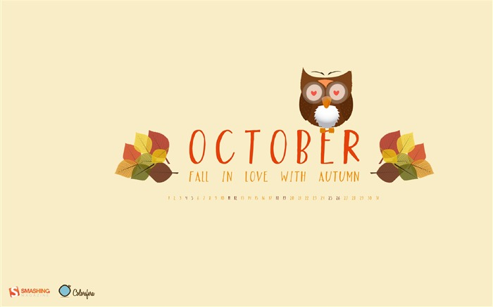 Fall In Love With Autumn-October 2014 Calendar Wallpaper Views:3737