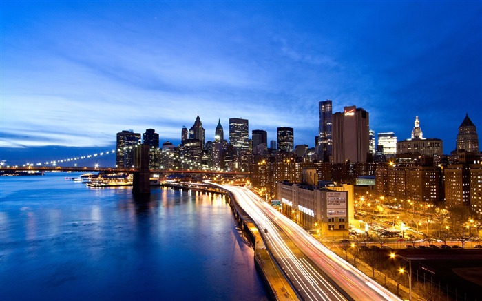 New York Night Road-HD Widescreen Wallpaper Views:5960