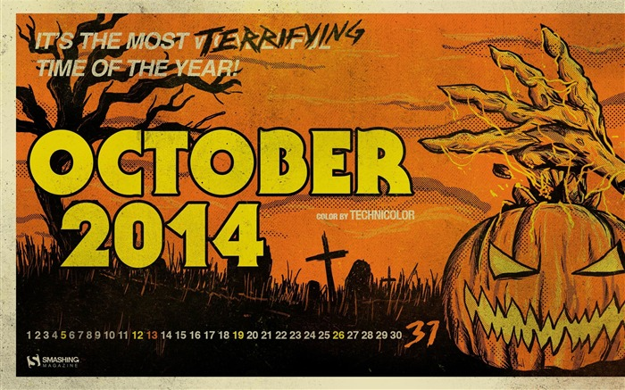 Terrifying Time Of The Year-October 2014 Calendar Wallpaper Views:2111