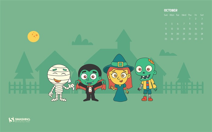 The Month Of Monsters-October 2014 Calendar Wallpaper Views:1382