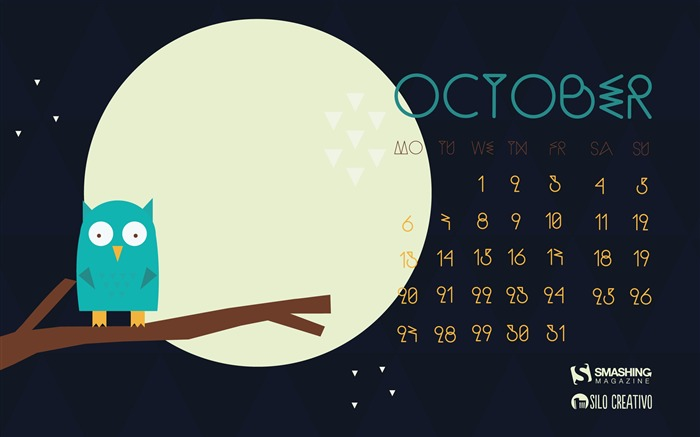Theres An Owl In My Olive-October 2014 Calendar Wallpaper Views:1573