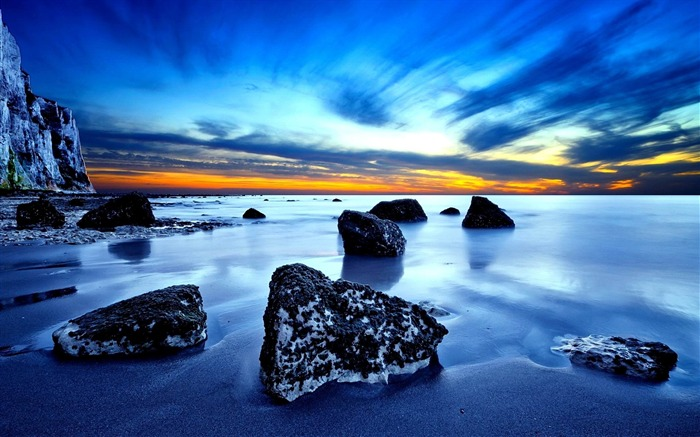 Beach Rocks Sunset-Scenery HD Wallpapers Views:3007