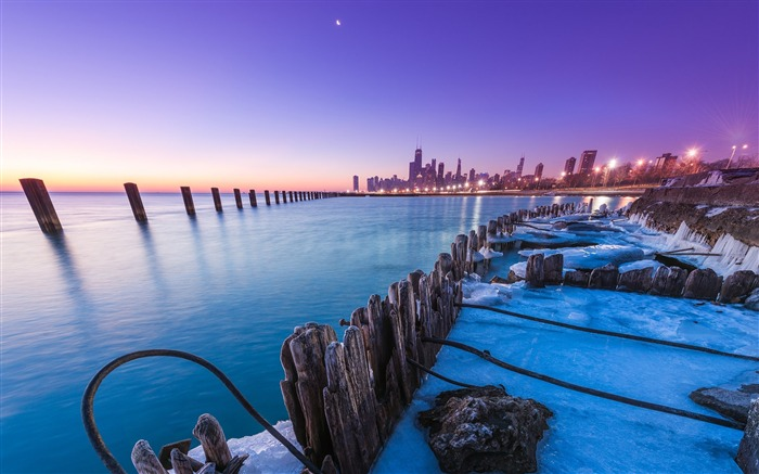 Chicago Sunset-HD photo wallpaper Views:2919