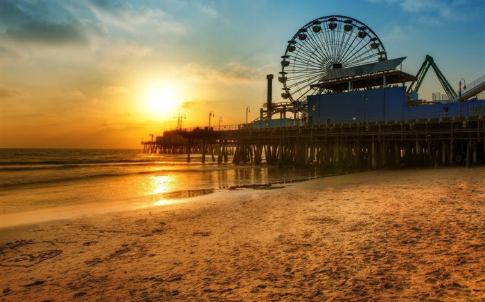 Los Angeles Beach Sunset-Scenery HD Wallpapers Views:2286