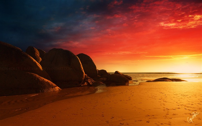 fire beach-Scenery HD Wallpapers Views:3051