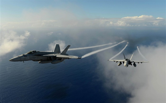 aircrafts flying over pacific ocean-military HD Wallpaper Views:4233