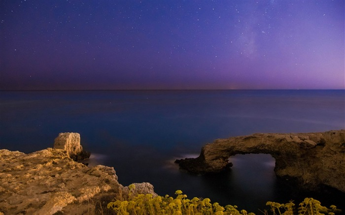 calm sea the milky way-Landscapes HD Wallpaper Views:2979