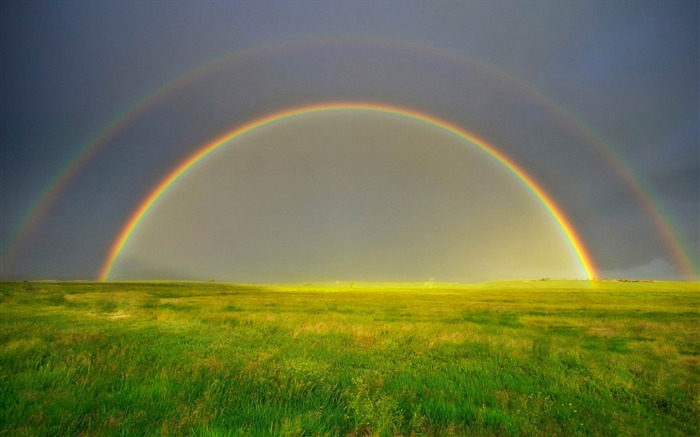 Double Rainbow On Green Field-Nature wallpaper Views:6409 Date:12/12/2014 11:19:41 PM