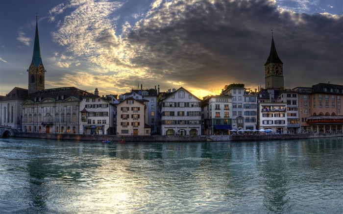 Zurich Switzerland at dusk-Windows 10 HD Wallpaper Views:9455