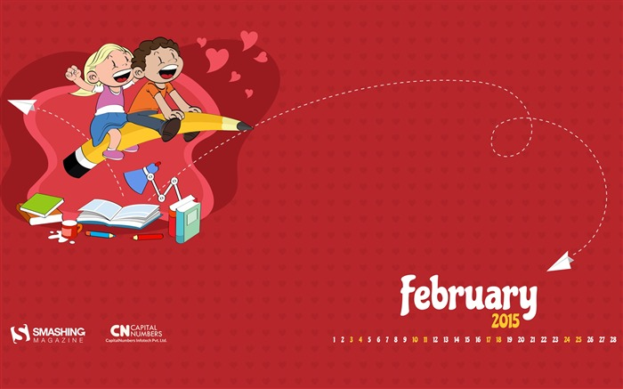 Fabulous February-February 2015 Calendar Wallpaper Views:3002