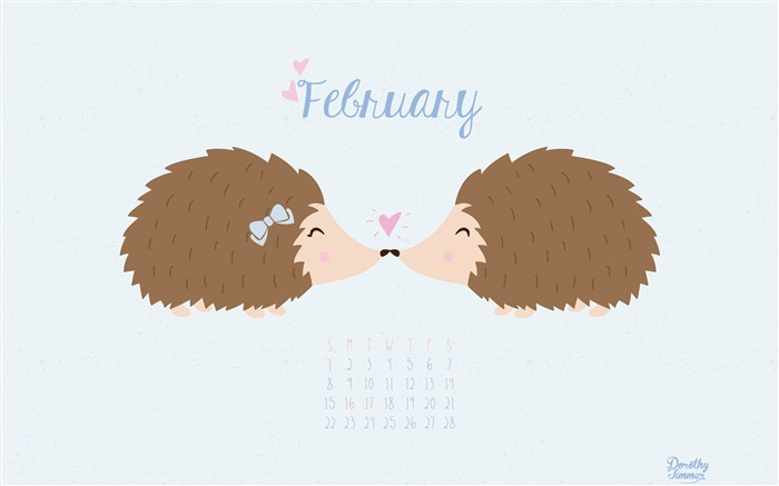 Hedgehog Love-February 2015 Calendar Wallpaper Views:2504