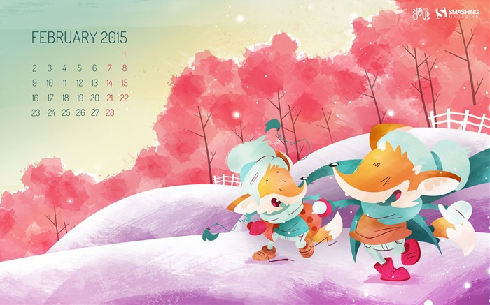 Snow Fox Cartoon-February 2015 Calendar Wallpaper Views:4050