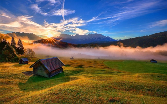 forest house rays mountains-HD Widescreen Wallpaper Views:3048