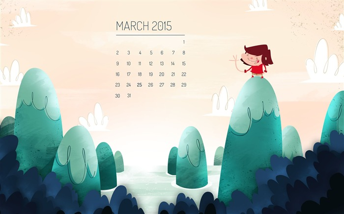 March 2015 Calendar Wide Themes Wallpaper Views:7211