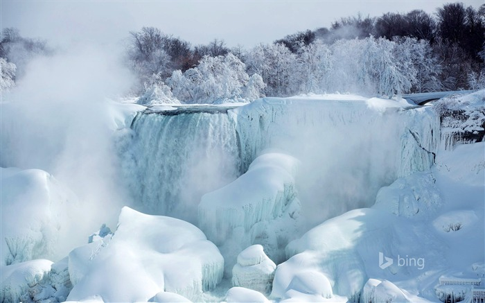 Melting of snow and ice waterfall-2015 Bing theme wallpaper Views:2671