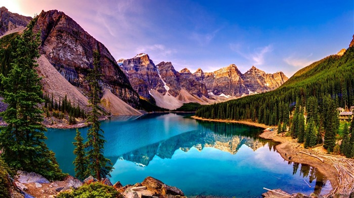 Moraine Lake Sunset-HD Scenery Wallpaper Views:3099