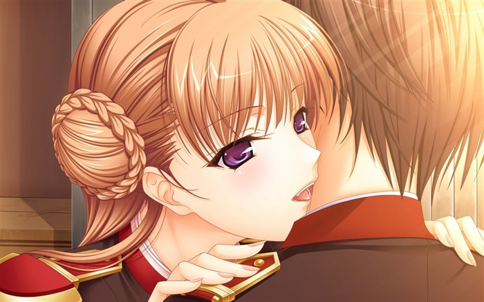 romantic boy girl hug-Cartoon HD wallpaper Views:8236