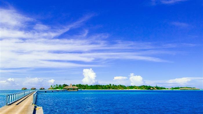 马尔代夫海滩场景-高清桌面壁纸 预览