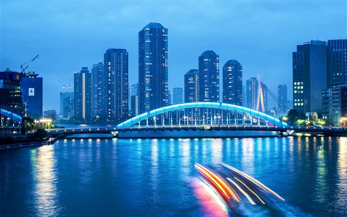 Bustling Cities Night Scenery Widescreen Wallpaper Views:7451