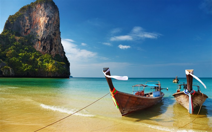 thailand tropical beach boats-Nature HD Wallpaper Views:1503