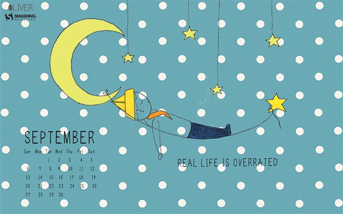 Real Life Is Overrated-September 2015 Calendar Wallpaper Views:2789