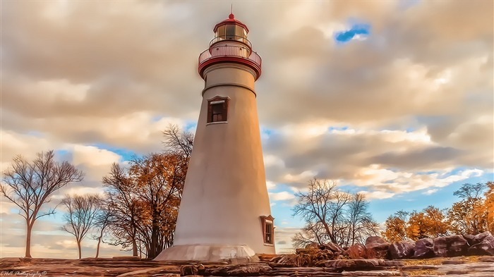 Lighthouse Autumn-HD Nature Wallpaper Views:1933