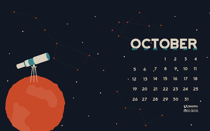 October 2015 calendar desktop themes wallpaper Views:7816