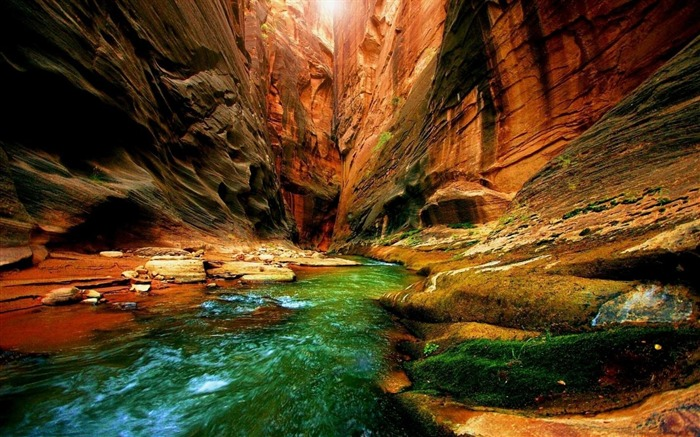 canyon gorge river moss greens-Photography HD wallpaper Views:2094