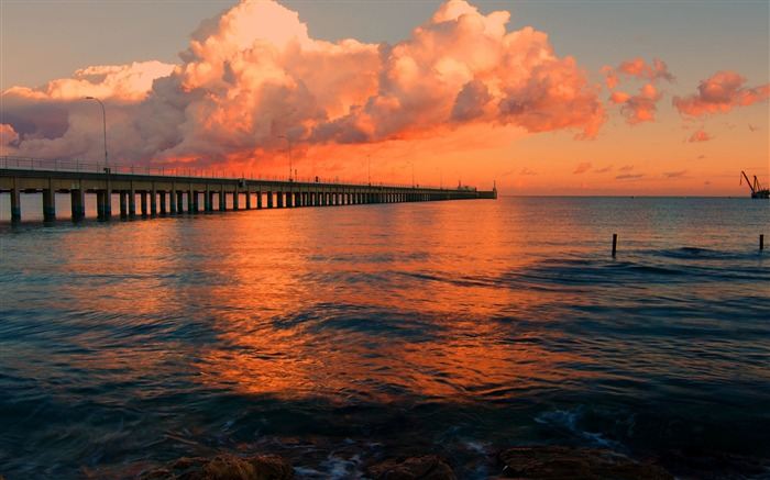 dock pier sea sunset-Photography HD wallpaper Views:2065
