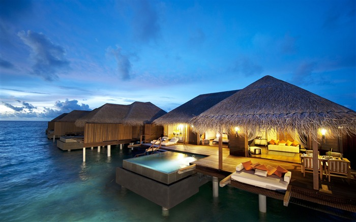 hut resort sofas evening-Photography HD wallpaper Views:3182