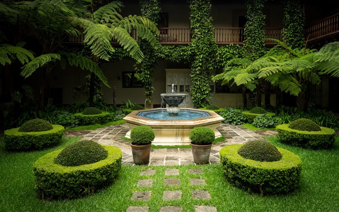 courtyard and fountain-High Quality Wallpaper Views:1694