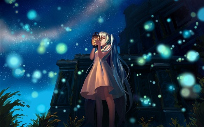Girl lights night lamp-2015 Anime Wallpaper Views:2053