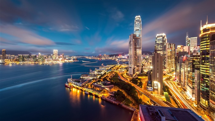 Hong kong harbour night-Cities HD Wallpaper Views:1245