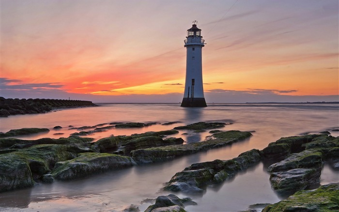 Lighthouse sunset mossy coast-Nature HD Wallpaper Views:1875