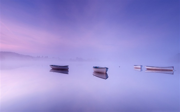 Morning calm lakes two boats-HD Widescreen Wallpaper Views:1843