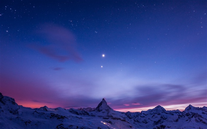 Mountains snow sky stars-scenery HD Wallpaper Views:2382