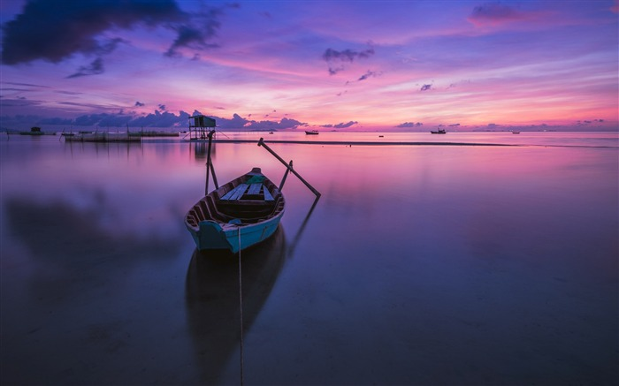 Purple ocean boats sunrise-scenery HD Wallpaper Views:3160