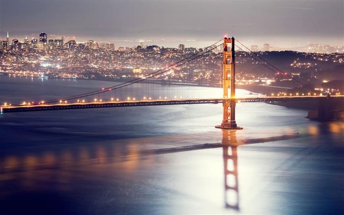 San francisco night bridge HDR-Cities HD Wallpaper Views:1412