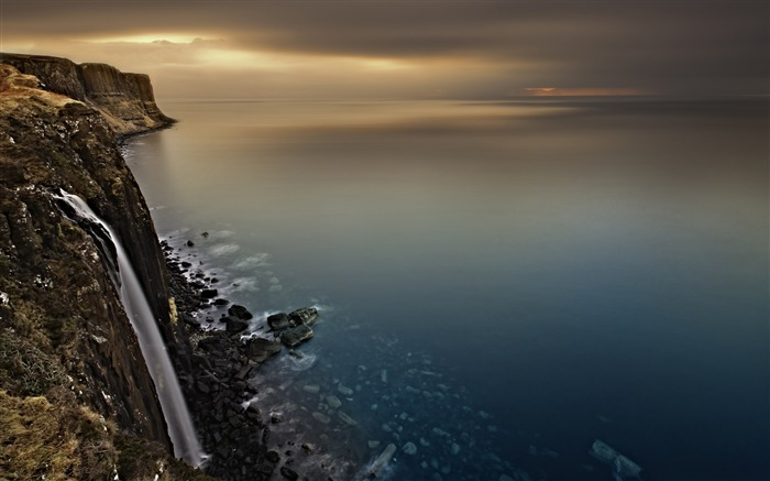 Scotland coast waterfall-Nature Photo HD Wallpaper Views:2306