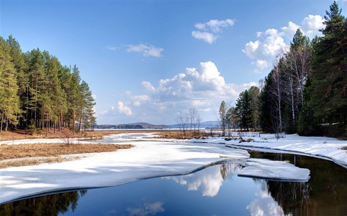 Snow melting winter-2015 Landscape Wallpaper Views:1689