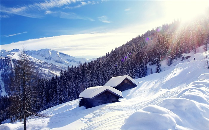 Snowy mountain cottage-2015 Landscape Wallpaper Views:1755