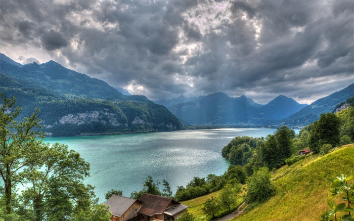 Walensee lake alps switzerland-scenery HD Wallpaper Views:5142