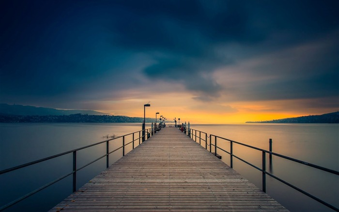 Wooden pier golden sunset-Nature HD Wallpaper Views:1102