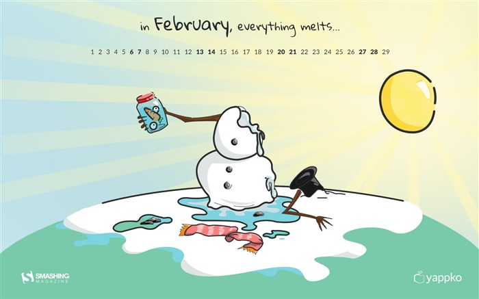 Everything Melts-February 2016 Calendar Wallpaper Views:2171